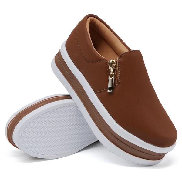 Slip On Zíper Sola Alta Caramelo DKShoes