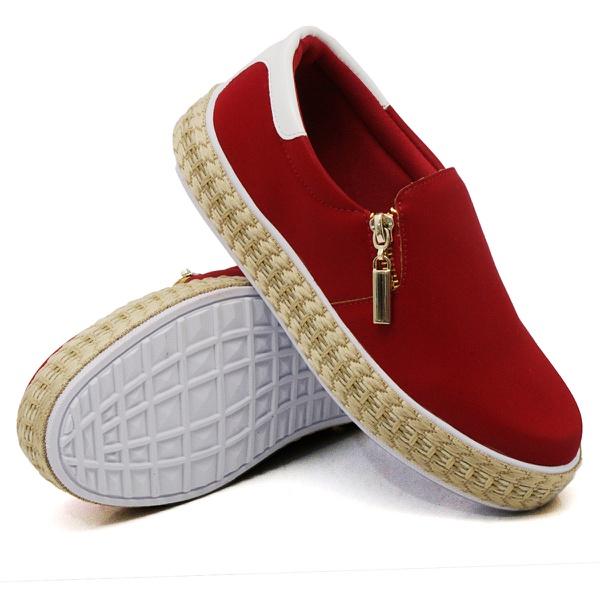 Slip On Zíper Vermelho Verniz Branco Corda DKShoes