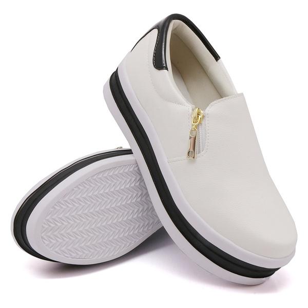 Slip On Zíper Sola Alta Branco Verniz Preto DKShoes