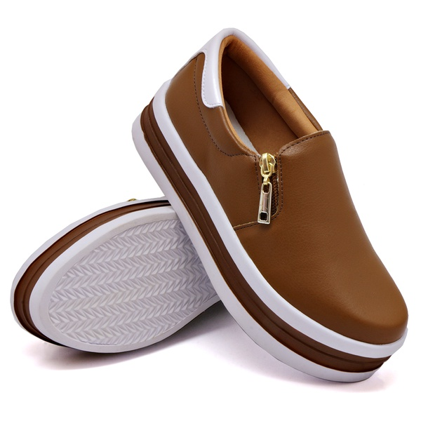Slip On Zíper Sola Alta Caramelo Verniz Branco DKShoes