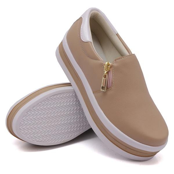 Slip On Zíper Sola Alta Rosê Verniz Branco DKShoes