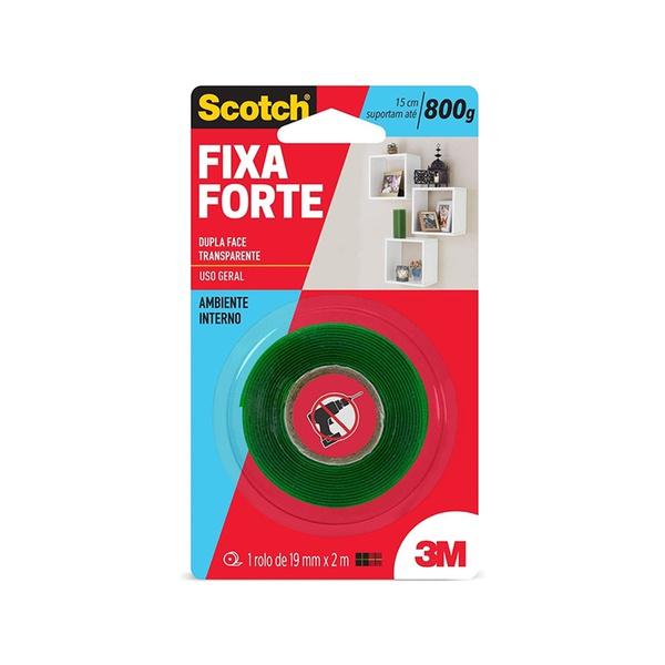 Fita Dupla Face Fixa Forte Transparente 19 mm x 2 m - 3M
