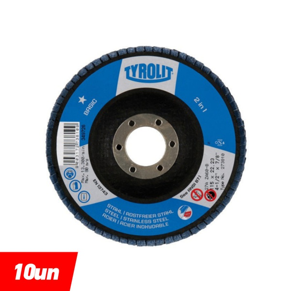 Combo Disco de Lixa Flap Angular 115mm Grana 60 - Basic - 273810 - TYROLIT