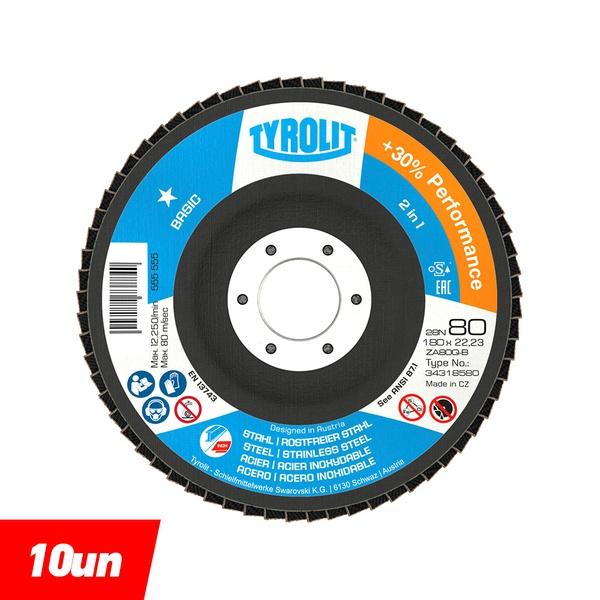 Combo Disco de Lixa Flap Plano 180mm Grana 80 - Basic 28N - 34318580 - TYROLIT