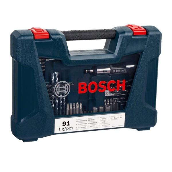 Kit de Pontas e Brocas em Titânio Bosch V-Line 91 Peças