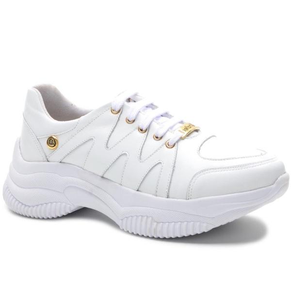 Tênis Feminino Branco em couro legítimo
