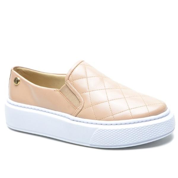Sapato Slip On em Couro Nude Matelasse