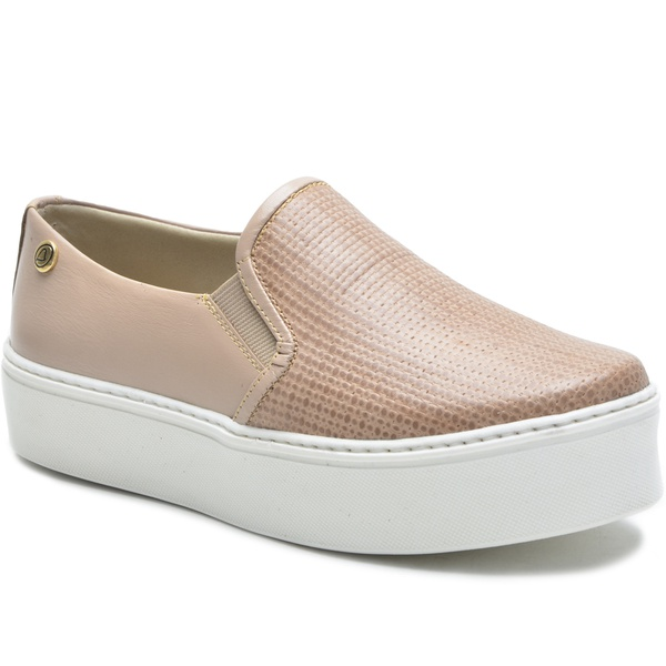 Sapato Slip On em Couro Nude Trama