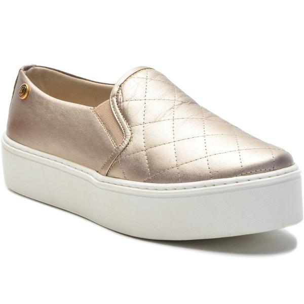 Sapato Slip On em Couro Dourado Champagne