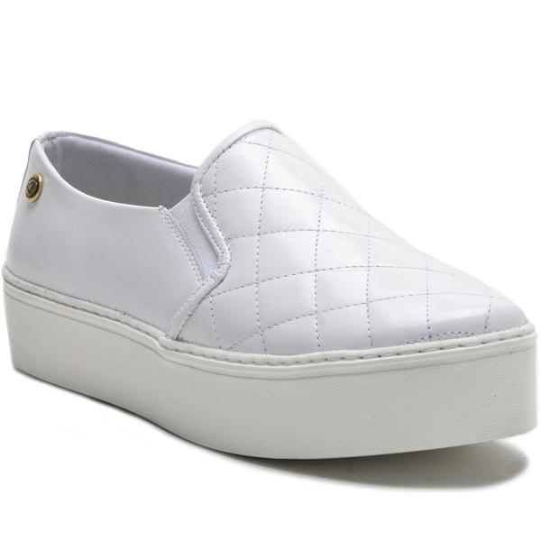 Sapato Slip On em Couro Branco Ana Flex