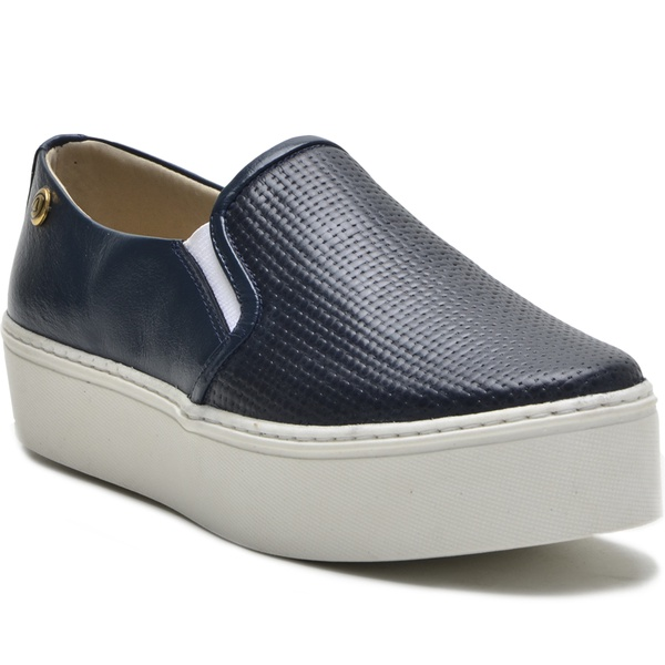 Sapato Slip On em Couro Azul Trama Ana Flex
