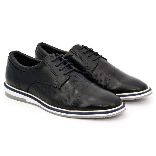 Sapato Masculino Oxford Esporte Fino Alpha em Couro Nobre Preto