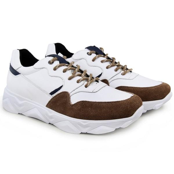 Tênis Chunky Sneaker Masculino Tracker Em Couro Branco C/Areia