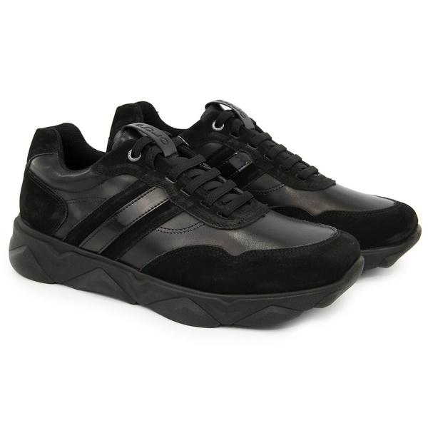 Tênis Chunky Sneaker Masculino Tracker Em Couro Black Veneza Verniz