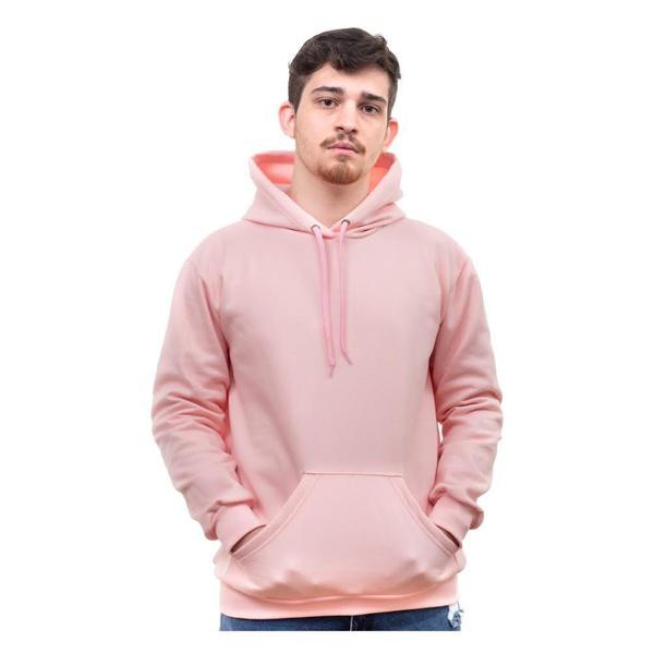 Moletom Masculino Liso Canguru Capuz Bolso Rosa