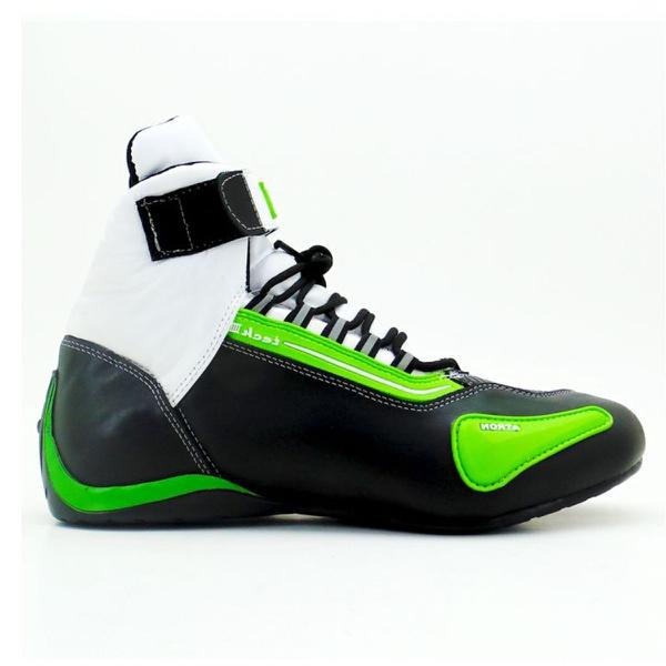 Tênis para motociclista com refletivo de cano alto de couro verde