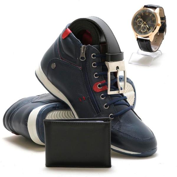 Bota Masculina Cano Médio Marinho em couro + relógio carteira e cinto