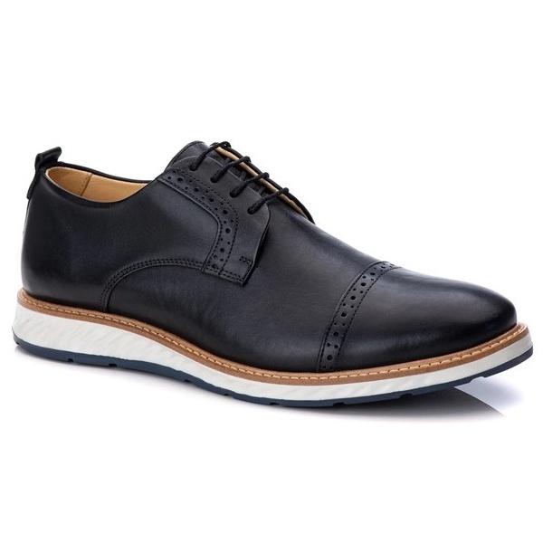 Sapato Brogue Masculino Esporte Fino em Couro Legitimo Preto