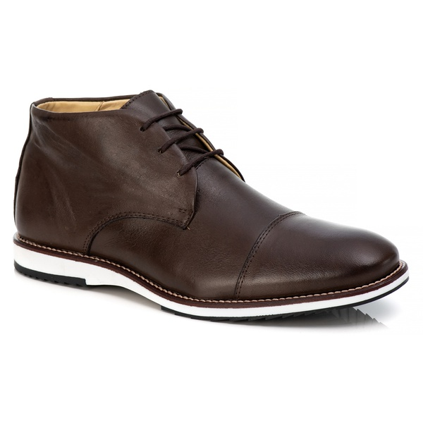 Sapato Brogue Cano Alto Premium em Couro Confort Tchwm Shoes Café