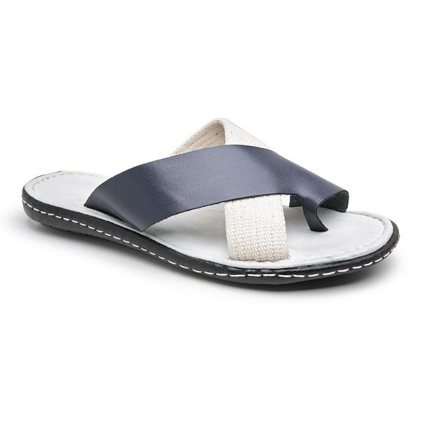 Chinelo Masculino confortável em couro legítimo Azul e Branco