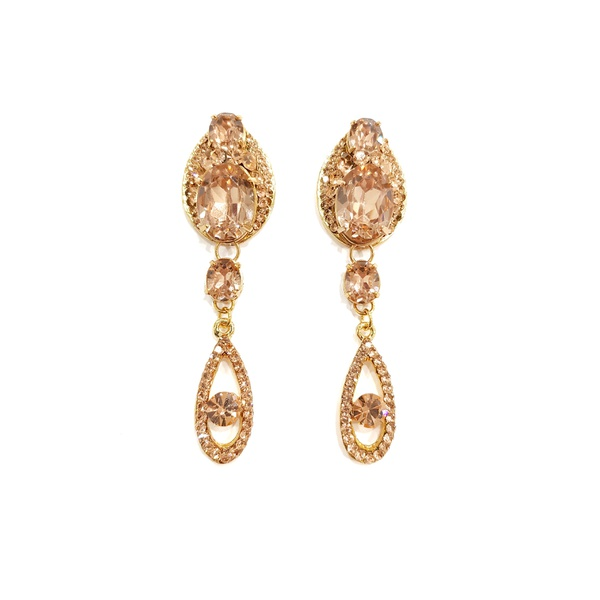 Brinco Gota com Pedras e Strass Light Peach