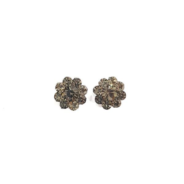 Brinco Pequeno Formato Flor Strass Black Diamond