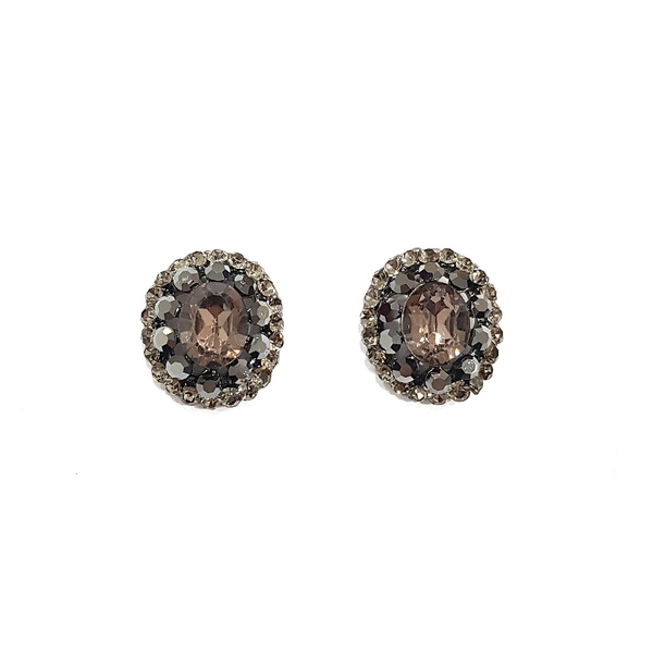 Brinco Ponteira Oval Strass Hematite e Black Diamond