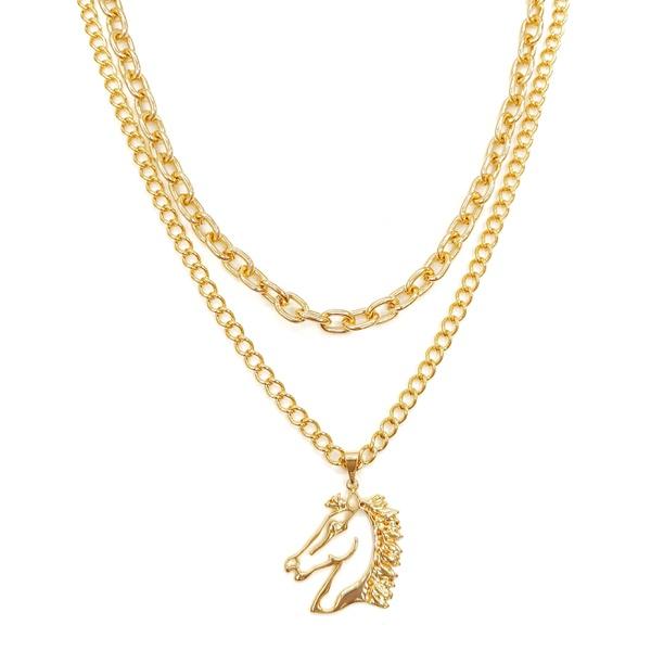 colar dourado pingente de cavalo 12511
