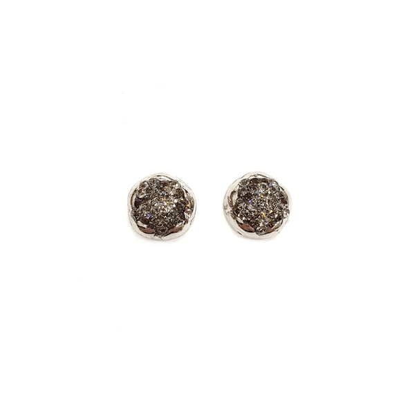 COD12580 BRINCO PONTEIRA PRATA COM STRASS BLACK DIAMOND