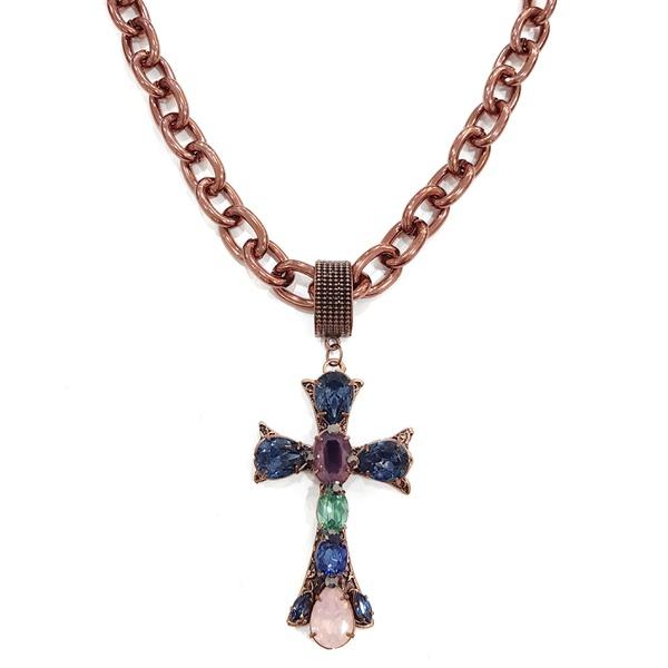 colar crucífixo com pedras azuis e vinho 12650