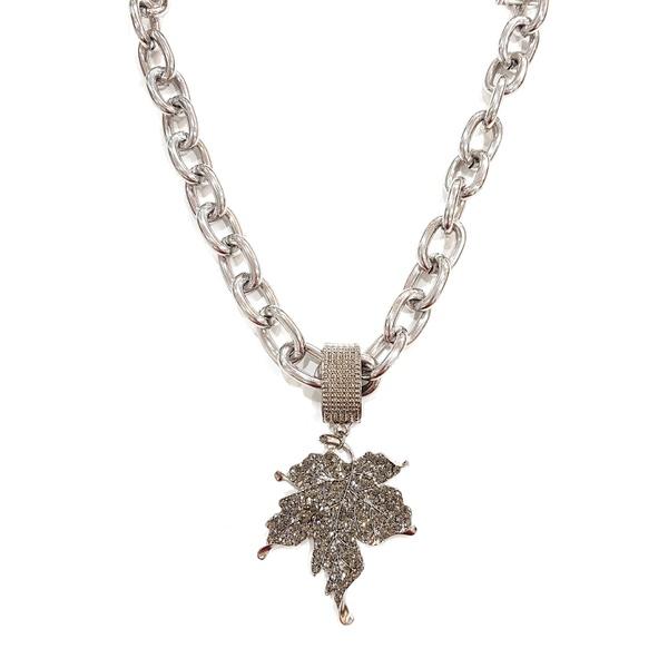 COD12834 MAXI COLHAR FOLHA PRATA COM PEDRAS BLACK DIAMOND