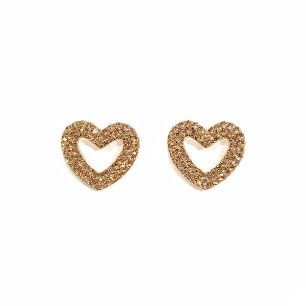 brinco dourado de coração 12853