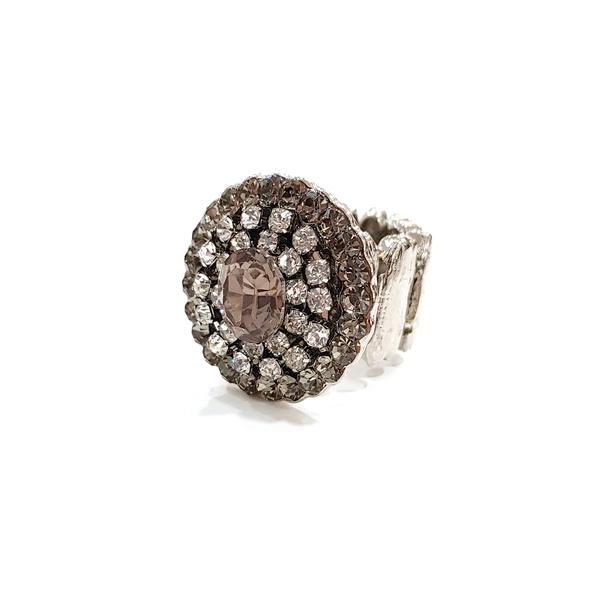 anel prata com strass 12935