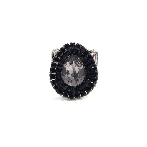 anel preto com pedra grafite 13131