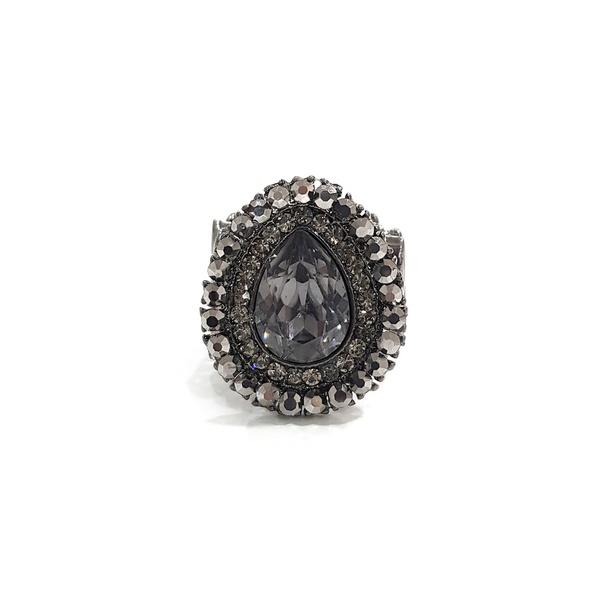 anel hematite com pedra grafite 13162