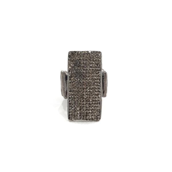 COD13163 ANEL RETANGULO COM STRASS BLACK DIAMOND