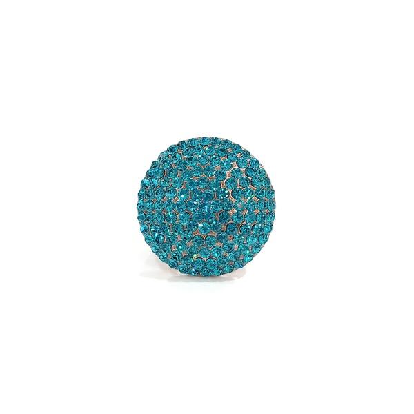 anel vintage com strass blue zircon 13175