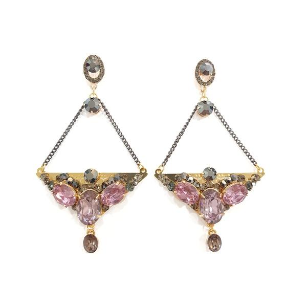 brinco dourado com pedras black e rosa 13250