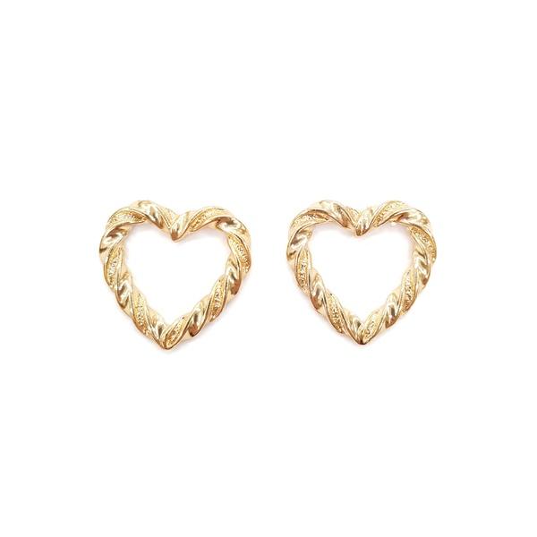 brinco dourado de coração 13283