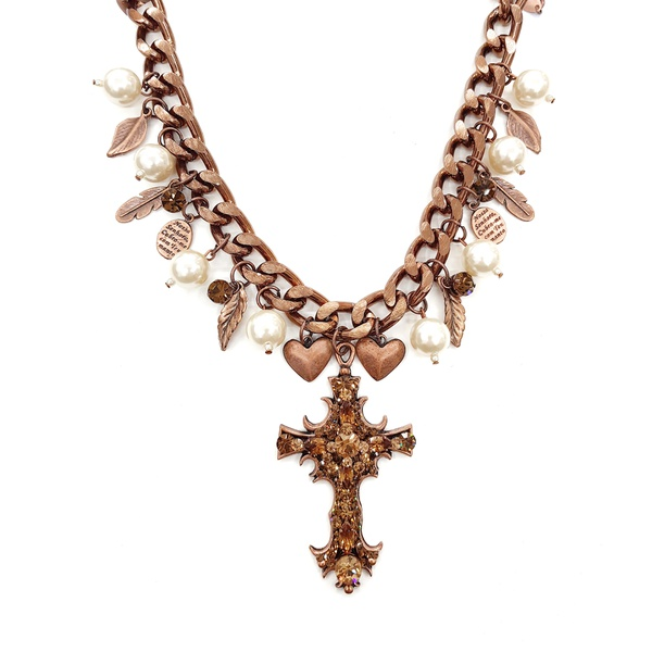 cod13344 Maxi colar com perolas e crucifixo
