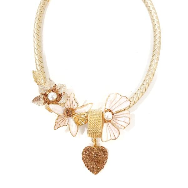 Colar de flor e coração 13391