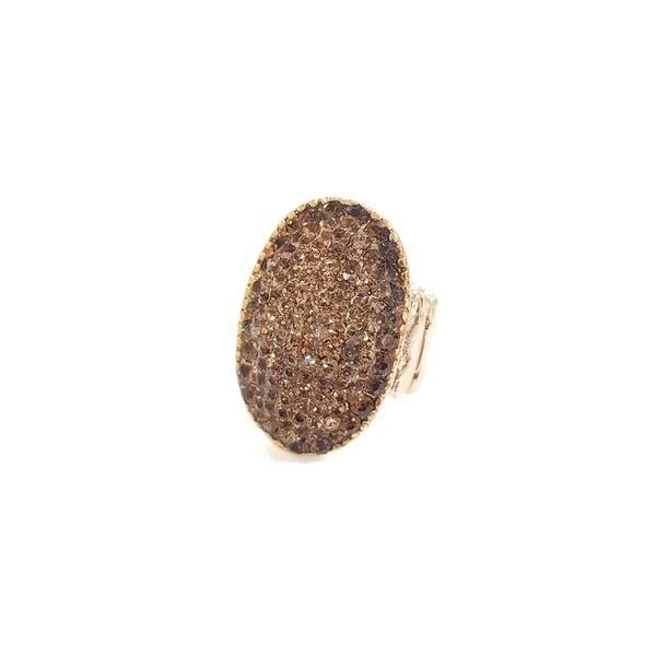 Anel dourado com strass 13398