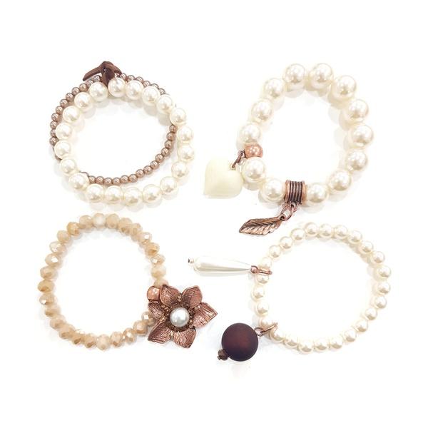 Mix de pulseiras com pérolas 13401