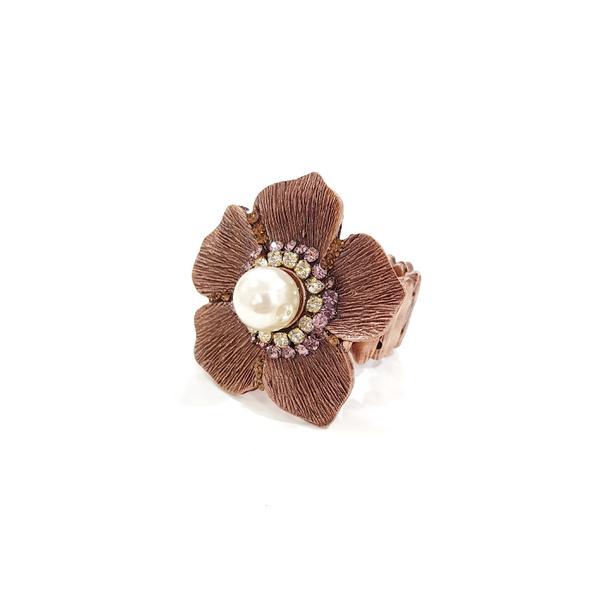 Anel de flor com pérolas 13436