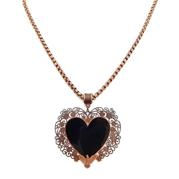 Maxi colar de coração preto 13442