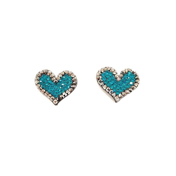 Brinco de coração com strass blue zircon 13475