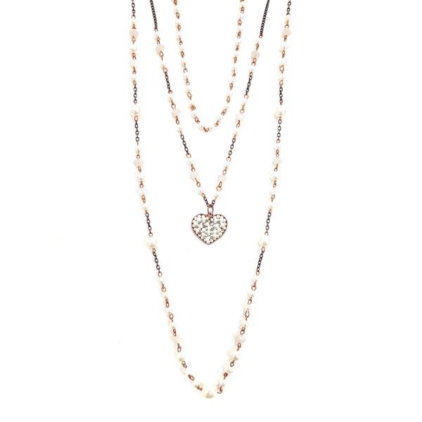 Mix de colares de pérolas com pingente de coração13482