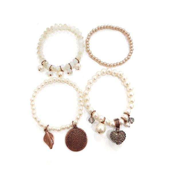 Mix de pulseiras com perolas e pingentes 13483