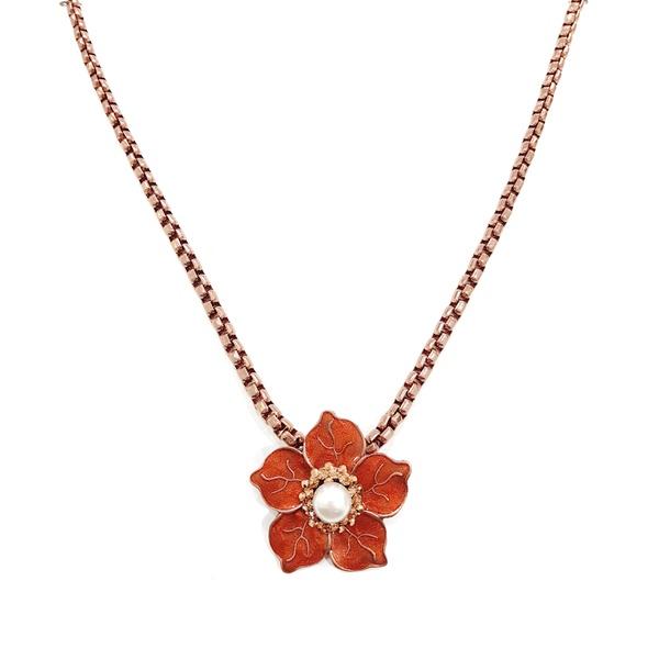 Colar flor esmaltada vintage 13492