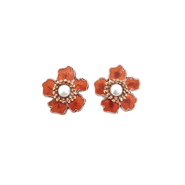 Brinco de flor esmaltada vintage 13494